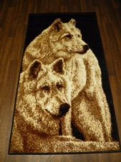 Modern Approx 4x2ft 60x110cm Woven Top Quality wolves Beige/black Rugs/Mat Dogs